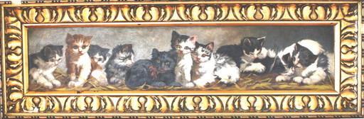 Louis Eugène LAMBERT - Gemälde - Zehn kleine Kätzchen