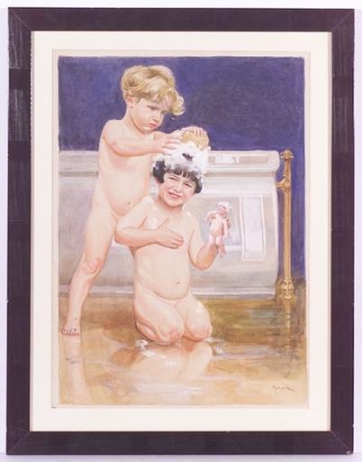 "Frantisek HORNIK-LANSKY - Disegno Acquarello - ""Bathing Day"", Watercolor, ca1930"