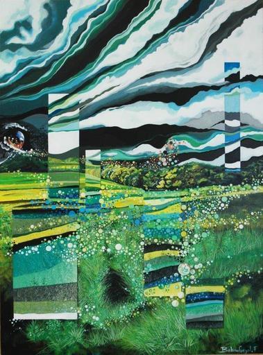Frederic BALMEFREZOL - Peinture - Miroirs verts tiges