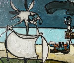 Claude VENARD - Painting - tête de chèvre