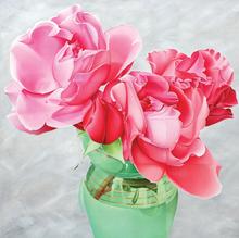 Annie BARDOULAT - Pittura - Roses vase vert