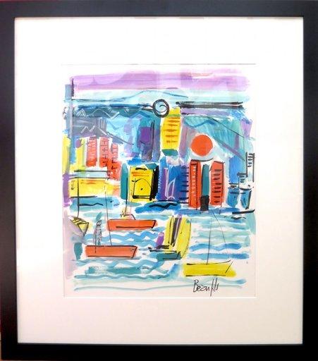 Jean-Luc BEAUFILS - Dibujo Acuarela - le port