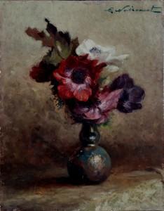 """L. NOIREAUT - Pintura - """"LE BOUQUET D'ANEMONES"""""""