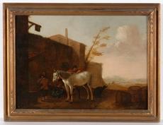 """Pieter Jacobsz. VAN LAER - Painting - Circle of Pieter van Laer, """"Horse at the Village Inn """""""