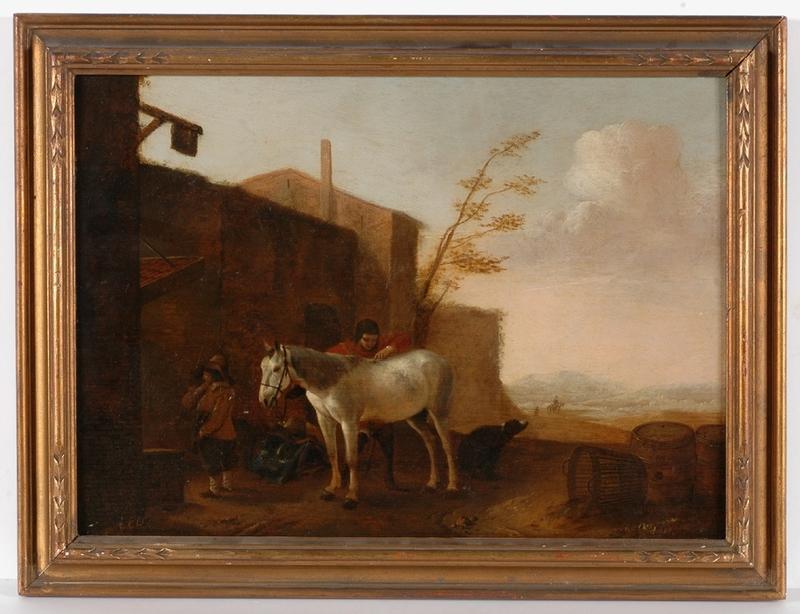 "Pieter Jacobsz. VAN LAER - Gemälde - Circle of Pieter van Laer, ""Horse at the Village Inn """