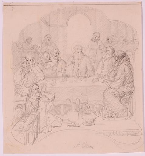 """Anton Alois STERN - Dibujo Acuarela - """"Last Supper"""", Mid 19th Century"""