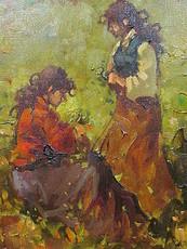 Vladimir FRIMU - Painting - 2 Mädchen beim Blumenpflücken