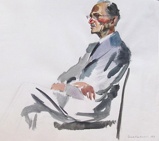 Erich HARTMANN - Disegno Acquarello - Porträt sitzender Mann