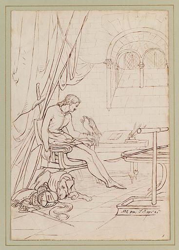 Peter Johann Nepomuk GEIGER - Drawing-Watercolor - Scene from German Saga, early 19th Century