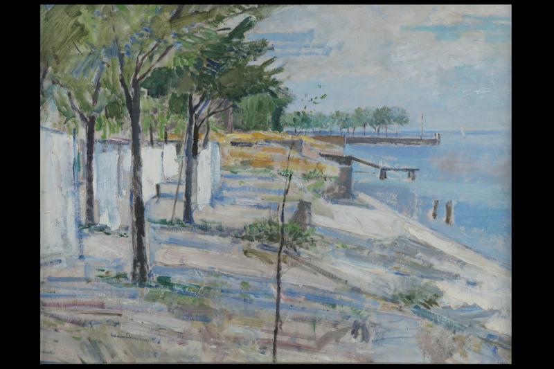 Renzo BIASION - Painting - Veduta di porto