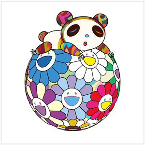 Takashi MURAKAMI - Grabado - Atop a Ball of Flowers, a Panda Cub Sleeps Soundly
