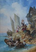 Auguste Aristide F. CONSTANTIN - Dessin-Aquarelle - Le départ pour la pêche
