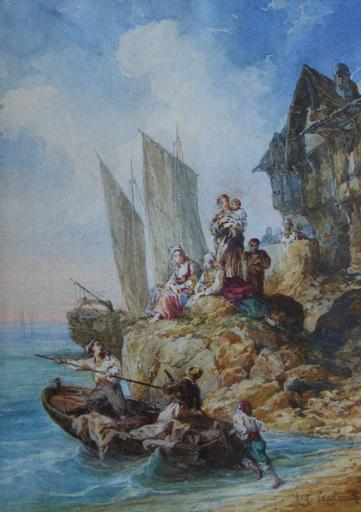 Auguste Aristide F. CONSTANTIN - Disegno Acquarello - Le départ pour la pêche