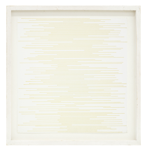 Sol LEWITT - Drawing-Watercolor - Straight parallel lines of random length not touching sides
