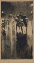 Lesser URY - Grabado - Pferdedroschke im Regenwetter