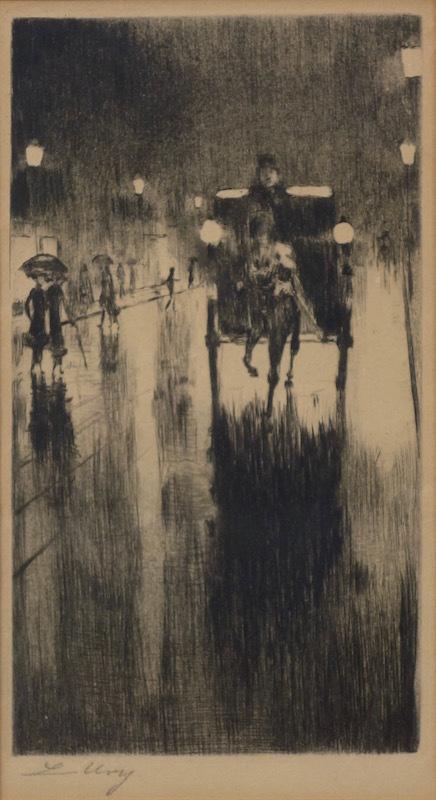 Lesser URY - Print-Multiple - Pferdedroschke im Regenwetter