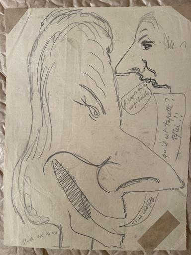Giorgio DE CHIRICO - Drawing-Watercolor - Colloquio satirico