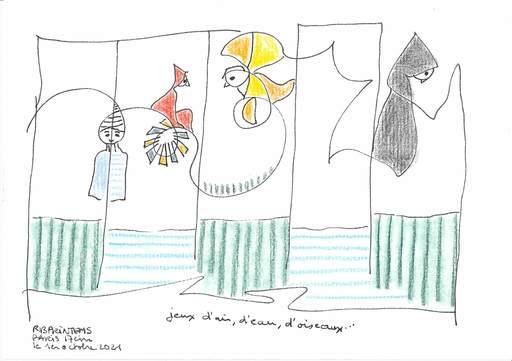 """Reine BUD-PRINTEMS - Zeichnung Aquarell - """"Jeux d'air, d'eau, d'oiseaux"""""""