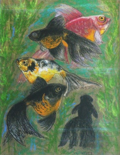 Gustave SOURY - Dibujo Acuarela - Poissons exotiques