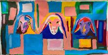 Menashe KADISHMAN - Peinture - Three Goat Heads