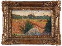 乔治·秀拉 - 绘画 - Champs à Barbizon (Field in Barbizon