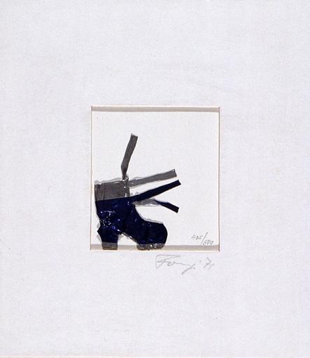Y. FONGI - Sculpture-Volume - Staniol Schuh blau und silbern