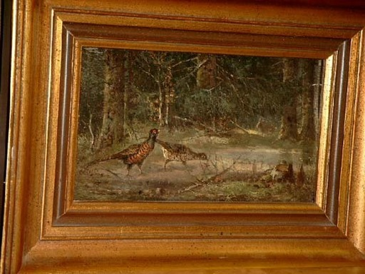Carl Friedrich OCKERT - Pintura - 2 Fasane im Wald