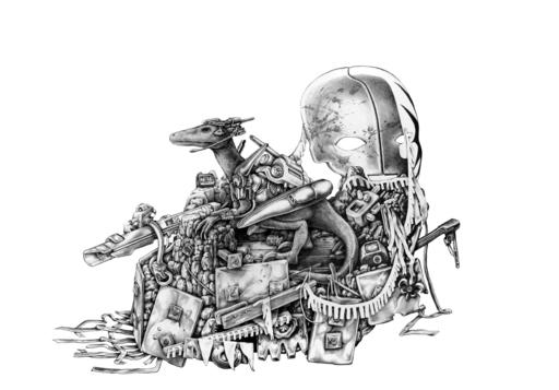 Ted MINEO - Dibujo Acuarela - Raptor Wars 3 (Float)