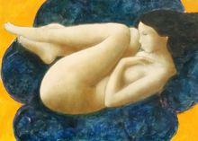 Alain BONNEFOIT - Pintura - Nu au Sofa Bleu