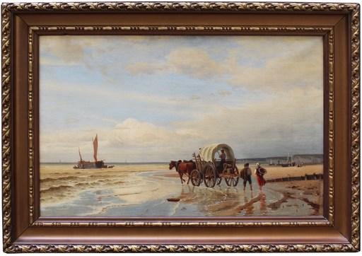 Luigi STEFFANI - Painting - Veduta marina con carro