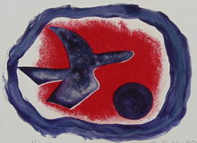 Georges BRAQUE - Estampe-Multiple - Bird on Carmine Background, or Bird XIV