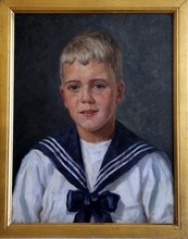 Arvid AAE - Painting - Young boy with a sailors shirt