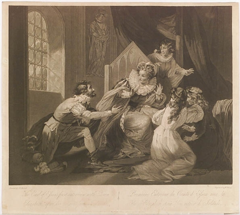 "William I WARD - Pintura - ""Queen Elisabeth and Earl of Essex"", Mezzotint, 1791"