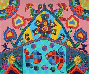 Michael JANSEN - Painting - Weinblattwelle_100x120cm_Oel auf Leinen