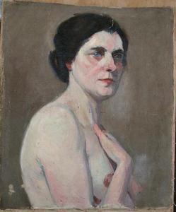Marguerite HANIN - Pintura - RECTO-VERSO : PORTRAIT/NU
