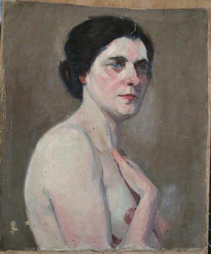 Marguerite HANIN - Painting - RECTO-VERSO : PORTRAIT/NU