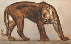 Paul JOUVE - Dibujo Acuarela - Panthère de profil