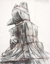 克里斯托 - 版画 - Wrapped monument to Vittorio Emanuele
