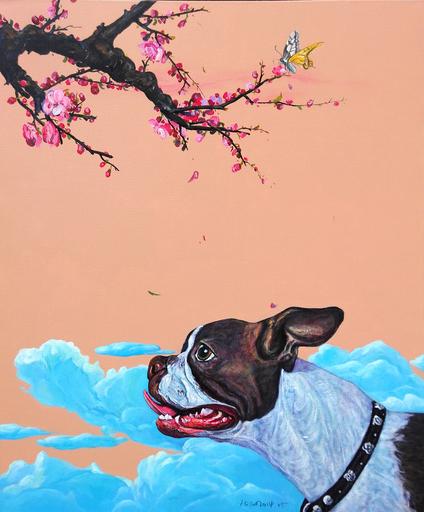 TANG Hai Guo - Peinture - 桃花朵朵 Peach Flowers