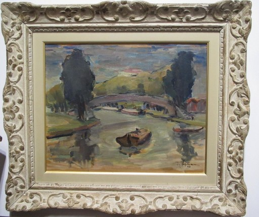 Raymond ESPINASSE - Gemälde - Le canal à Toulouse