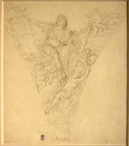 Fedele FISCHETTI - Drawing-Watercolor - King David with Angels in the Clouds