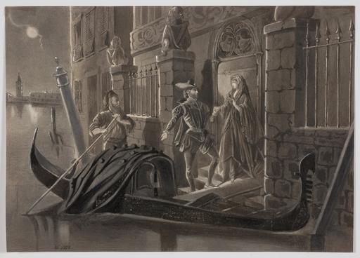 """Victor ODESCALCHI - Disegno Acquarello - Prince Victor Odescalchi, """"Venetian Night"""", 1868"""