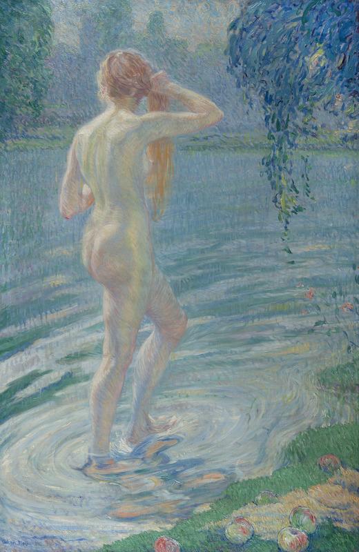 William MALHERBE - Peinture - Nu à la rivière
