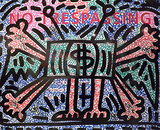 LA2 - Peinture - No Trespassing Money Figural Sign