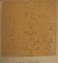Paul KLEE - Drawing-Watercolor - groupe d'éléphants