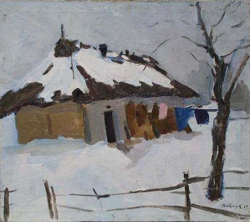 "Leonid Vaselevich TITARCHUK - Gemälde - ""Winter Motif"", Oil Painting, 1969"