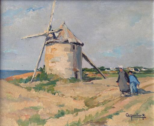 Renée CARPENTIER-WINTZ - Pintura - Bigoudène et moulin en Finistère