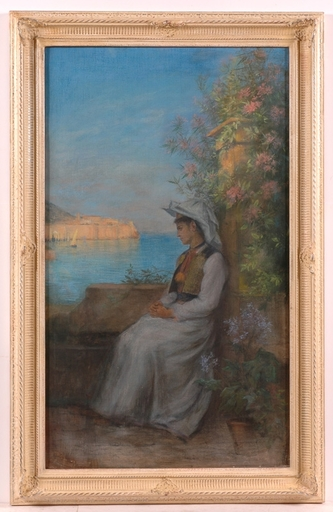 """Ernst PAYER - Painting - """"Croatian Beauty, Dubrovnik"""", 1897"""
