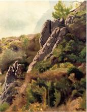 Marcel MANGIN - Pintura - Paysage Rocheux