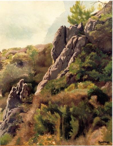 Marcel MANGIN - Painting - Paysage Rocheux